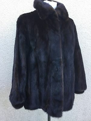 TRUE VINTAGE Genuine MINK SABLE DARK BROWN FUR HARRODS COAT JACKET M 14 12