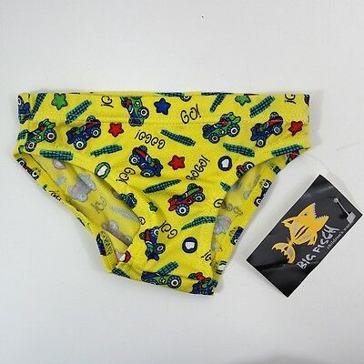 Baby Boy Yellow Vehicles Cars Swimming Briefs Swim Trunks Elasticated 0-6 Months