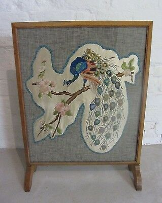 Stunning upcycled vintage peacock embroidered fire screen