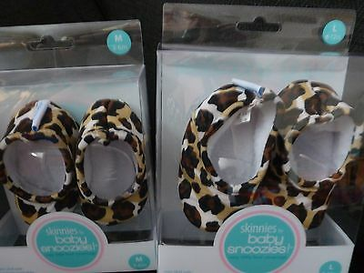 Skinnies Snoozies Baby Shoes Leopard Print  6-12 Months X 2 Pairs New In Box