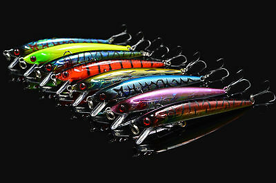 8 X MIX Colors Fishing lures Minnow Pike Perch Bass Lure Bait 8M1