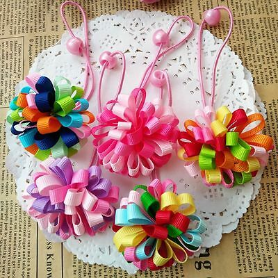 10pcs/lot Kids Girls Baby Toddler Flower hair accessories Elastic Hair Band Rope