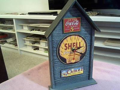 "Shell Oil & Gas Working Battery Power Clock Made Of Wood 10"" Tall Handmade Usa"