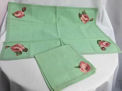 Vintage 1940s Tray Cloth with Napkin, Green with Floral Design