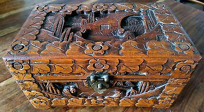 Vintage hand carved and highly detailed Chinese camphor wood box