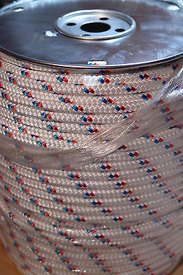 "Sailboat Rigging Rope 7/16"" X 200' Double Braid Polyester Red/blue Tracer"