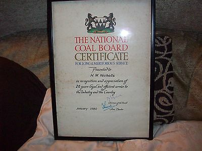 National Coal Board Certificate Long & Meritorious Service