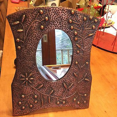 Superb Arts and Crafts Copper standing dressing table mirror
