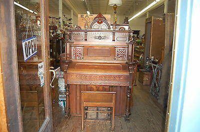 Antique Victorian  1880s Estey Walnut Pump Organ Lamp Holders and Bench