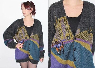 Vintage 1980's WOOL Grey Purple EMBROIDERED OVERSIZE SLOUCH GRANDDAD Cardigan XL
