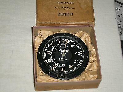 RARE Mint boxed WW1? Zenith aircraft altimeter Aneroid U.S.A. 0 to 8000 meters