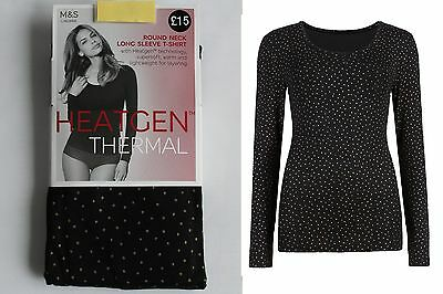 M&S Ladies Heatgen Thermal Long Sleeve Glitter Spotted T-Shirt Top Soft Warm