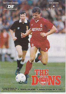 Aberdeen v New Salamis 3 Oct 1990 Cup Winners Cup