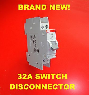 32A 250V Main Switch Disconnector Isolator, Double Pole, DIN rail, ON-OFF switch