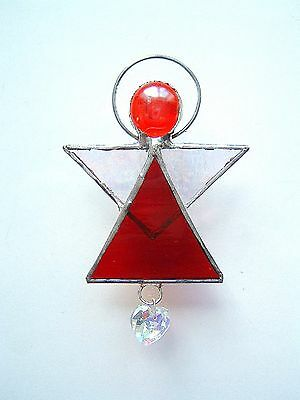 RUBY RED Guardian Angel stained glass heart suncatcher decor xmas tree gift