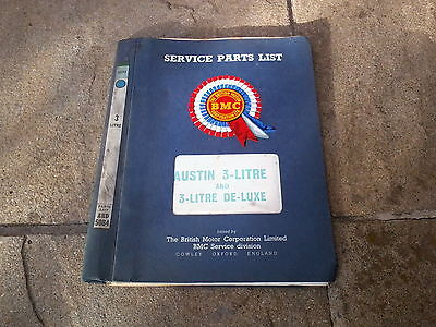 Austin 3 Litre & De-Luxe Body Service Parts List 1968 Akd5084 Issue 3 Bmc