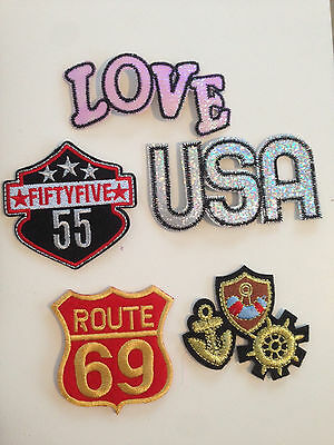 Badge thermocollant Ecusson Love - USA - Route  69 -55 - ancre Tendance
