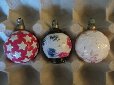 3 Non-Working Vintage C6 Figural Glass Christmas Light Bulbs