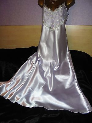 Stunning vtg   Glossy  silky satin  nightie dress slip  gown negligee  16/18