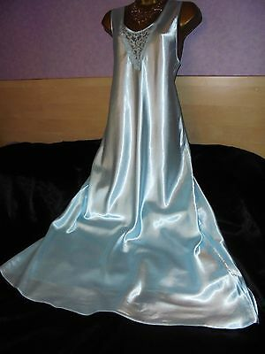 Stunning vtg   Glossy  silky satin  nightie dress slip  gown negligee  18 long
