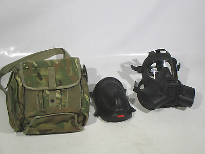 British Army GSR Gas Mask Respirator Size 3 With MTP Field Pack & Faceplate Used
