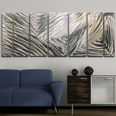 Silver Modern Decor Etched Metal Wall Art - Soothing Shores by Jon Allen