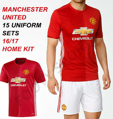 Manchester United Home Soccer Uniform 15 Sets 16/17 kits FreeNumbers FOOTYSPORTS