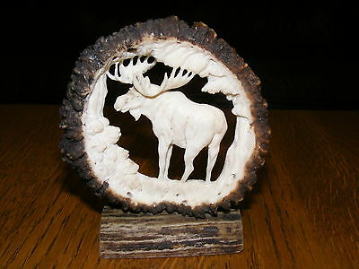 HAND CARVED ANTLERS, MOOSE BULL, decor taxidermy skull hunting