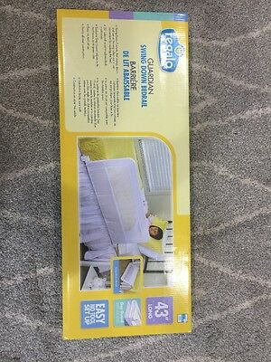 Regalo Swing Down Bedrail, White, Child Safety Toddler Guard, Brand New Unopened