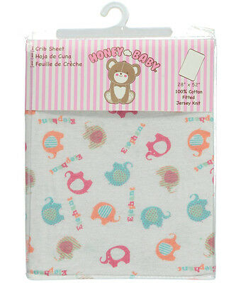 "Honey Baby ""Elephants"" Fitted Crib Sheet (28"" x 52"")"
