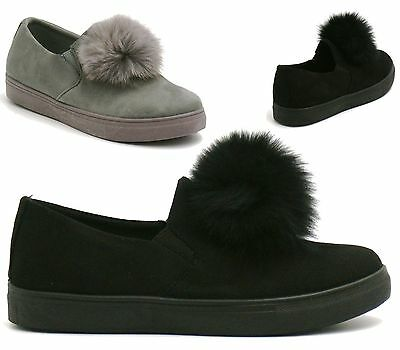 New Womens Pom Pom Style Suede Trainers Pumps Low Flat Heel Shoes
