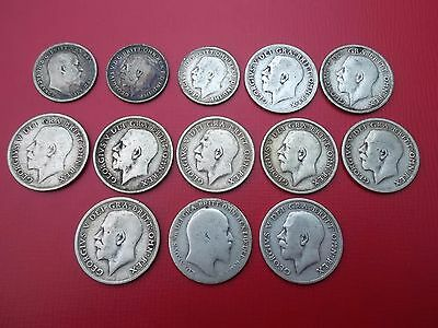 Collection Bulk Joblot 1903-1919 Silver Sixpence  (10) And Threepence  (3) Pre20