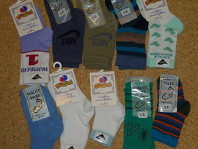 10 Pairs Assorted Baby Boys Socks. Shoe Size 3-5.5