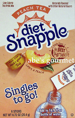 Diet Snapple Singles to Go Drink Mix (Pack of 3) Peach Tea, 6 Count Boxes