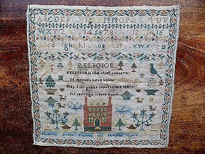 1846 Early Victorian Sampler E Donne aged 10 Genuine Antique Fabric Embroidery