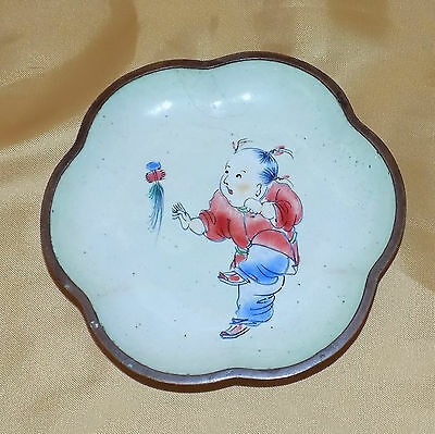 Vintage Chinese Republic Vitreous Enamel Dish Child at play with a Feather Toy