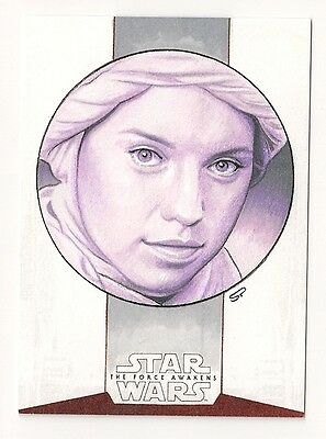 2015 Topps Star Wars The Force Awakens Series 1 Rey Sketch 1/1 By Sean Pence