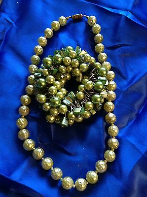Vintage And Modern Jewellery Green Pearl  Set