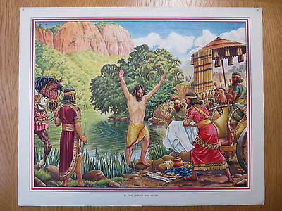 1950'S VINTAGE CLASSROOM POSTER Bible Stories Macmillans The Leprosy Was Gone