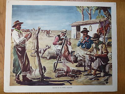 1950'S VINTAGE CLASSROOM POSTER Gauchos of the Pampas Argentina Macmillans