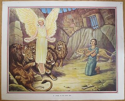 1950'S VINTAGE CLASSROOM POSTER Daniel in the Lions' Den Bible Story Macmillans
