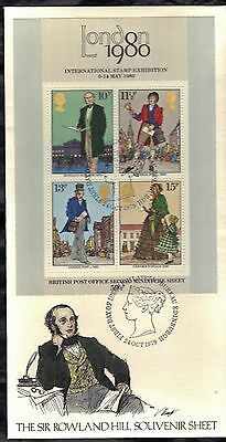 Great Britain First Day Cover 1979 London Stamp Expo 1980 & Sir Rowland Hill S/s