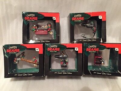 Set Of 5 SEARS Mr Christmas CRAFTSMAN TOOL Ornaments 1997 Toolbox Drill Hammer