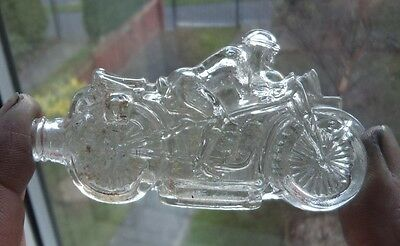 RARE ANTIQUE c1920 MOTORBIKE CRYSTAL GLASS SCENT / PERFUME BOTTLE
