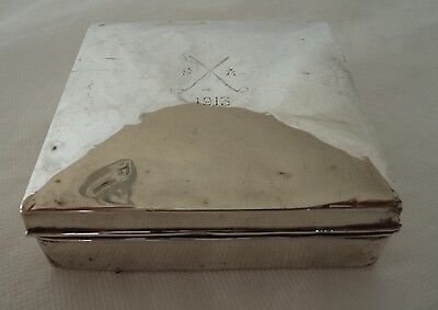 Antique 1913 Golfing Sterling / Solid Silver Cigarette / Jewellery Box