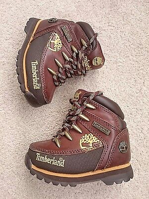 Baby Babies Infant Boys Brown Leather TIMBERLAND HIKER Boots SIZE 4.5 EU 21 New