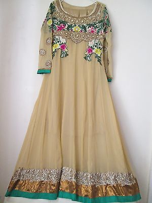 Womens Beige Floral Anarkali Shalwar Kameez Pakistani Outfit 3 Piece Size Small