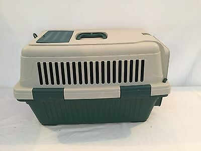 Green & Cream Pet Carrier With White Locking Mechanism (Charity Sale)