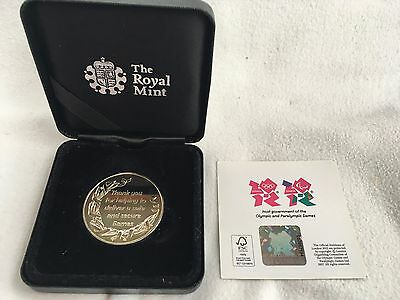 Commemorative 2012 Olympics Police Medal by Royal Mint with Box and Certificate