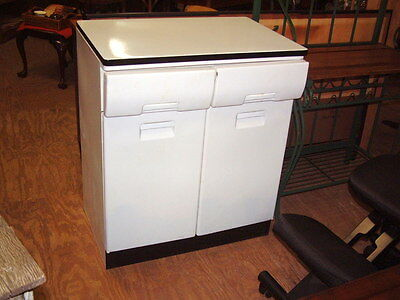 Vintage 1950's Kitchen Metal Cabinet with 2 Drawers & Storage